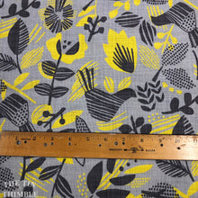 Load image into Gallery viewer, Kokka Canvas / Open Weave Cotton / Graphic - 1 Yard - Cotton Fabric / Canvas / Japanese / 100% Cotton Canvas / Printed Canvas / Grey Yellow