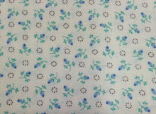 Load image into Gallery viewer, Blue and Turquoise Floral Print - 1 Yard / Small Print Cotton Fabric / Quilting Cotton / Fabric by Yard / Blue Flower Print / Floral