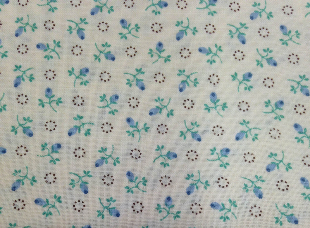 Blue and Turquoise Floral Print - 1 Yard / Small Print Cotton Fabric / Quilting Cotton / Fabric by Yard / Blue Flower Print / Floral