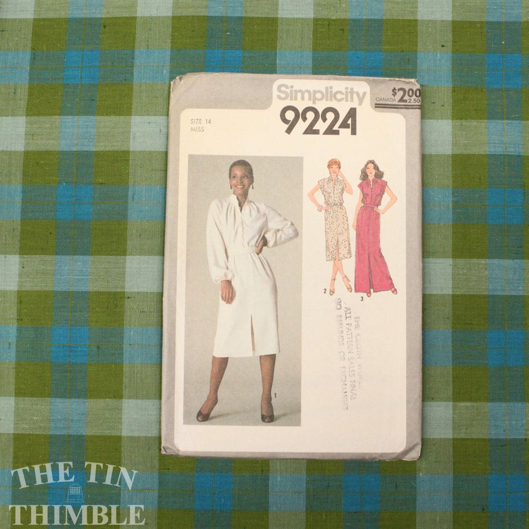 Dress Pattern / 1970's Maxi Dress / Vintage Sewing Pattern / Simplicity 9224 / Size 14 / Gathered Yoke / Button Up Dress / QUICK LIST