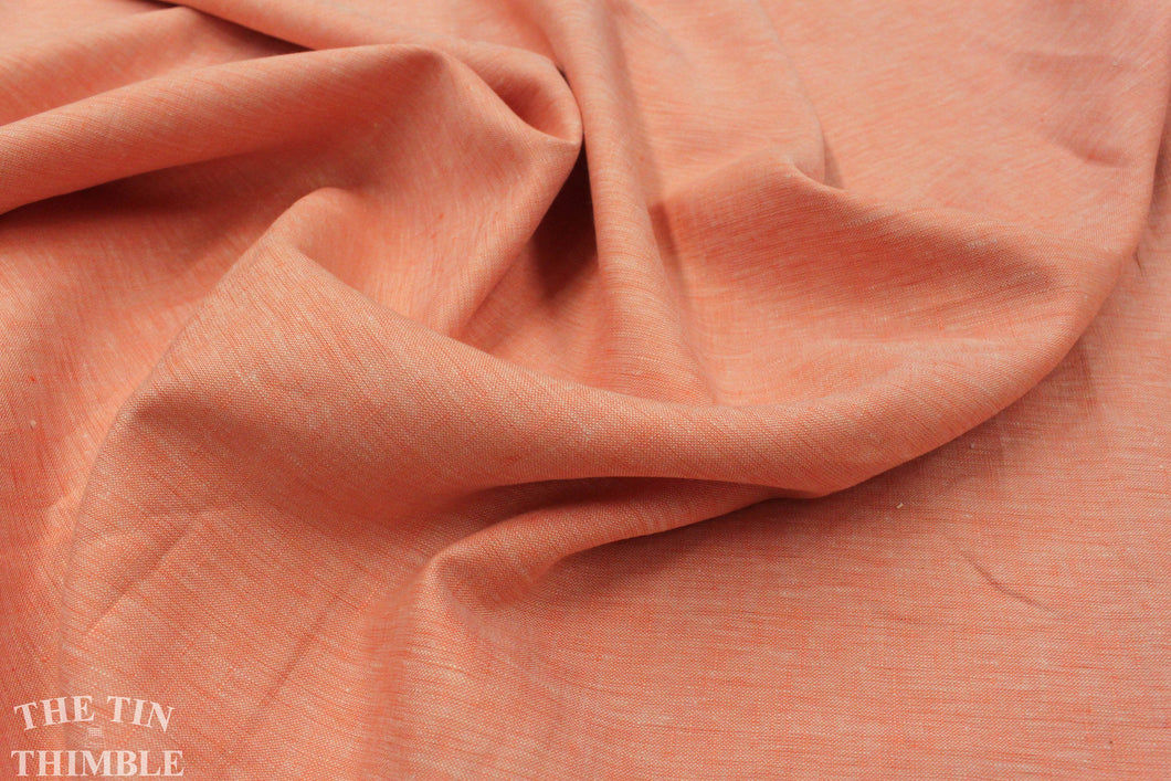Organic 100% Linen in Quince Blossom by Birch Fabrics - 1 Yard - Pure Organic Coral Colored Linen Fabric by the Yard