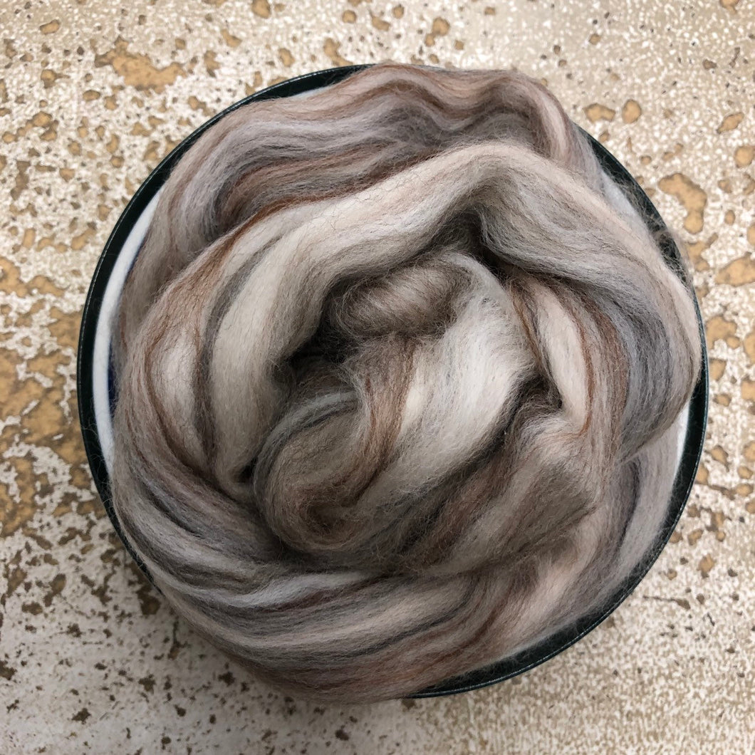 Taupe Merino Wool Roving - 1 oz - Nuno Felting / Wet Felting / Felting Supplies / Hand Felting / Needle Felting / Fiber Supply / Fiber