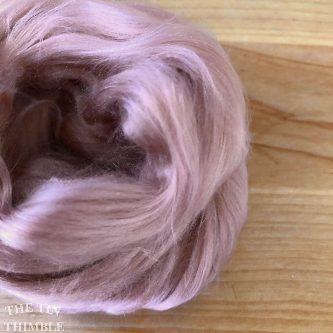 Cultivated Bombyx (Mulberry) Silk Fiber for Spinning or Felting in Shell Pink - 3.5 Grams or More