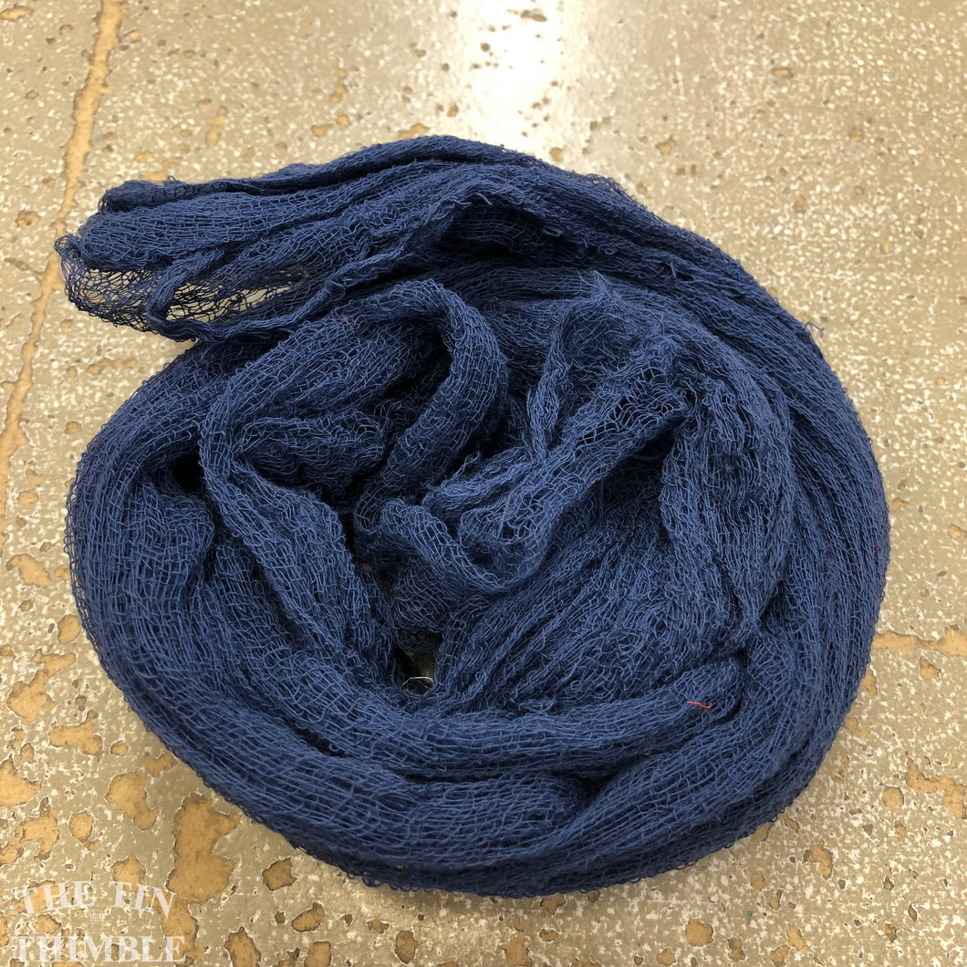 Hand Dyed Cotton Gauze Scrim Cheesecloth Scarf for Nuno Felting in Navy / Scarf for Felting or Wearing as Is