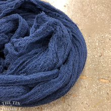 Load image into Gallery viewer, Hand Dyed Cotton Gauze Scrim Cheesecloth Scarf for Nuno Felting in Navy / Scarf for Felting or Wearing as Is