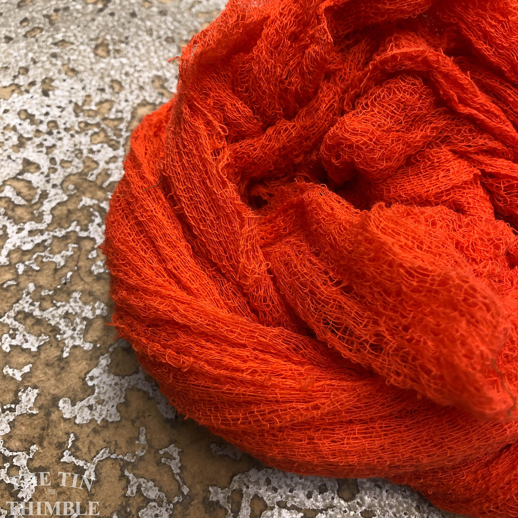 Hand Dyed Cotton Gauze Scrim Cheesecloth Scarf for Nuno Felting in Fluorescent Orange / Scarf for Felting or Wearing as Is