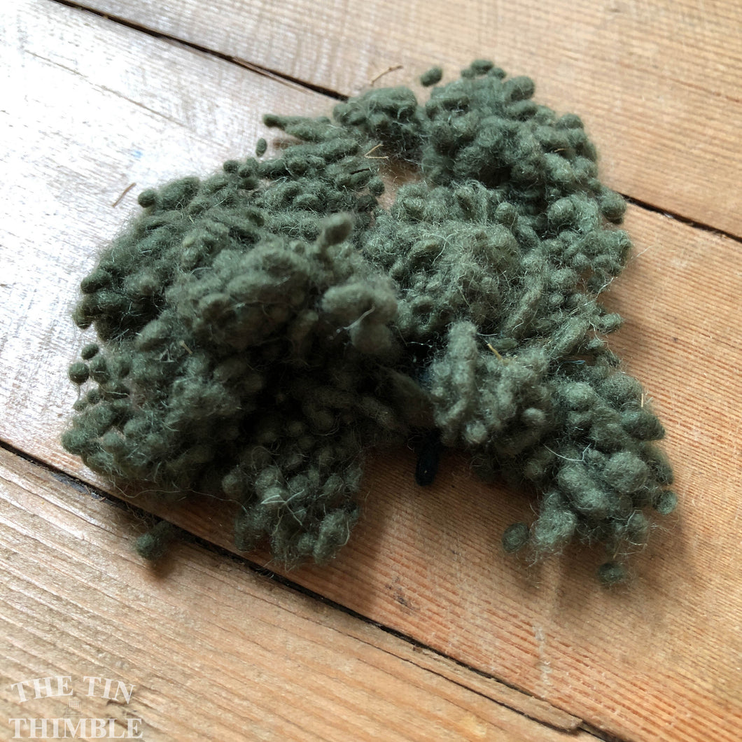 Olive Dyed Wool Nepps or Nibs for Felting by DHG / 1/8 Oz or More / Commercially Dyed Textural Fibers for Nuno or Wet Felting