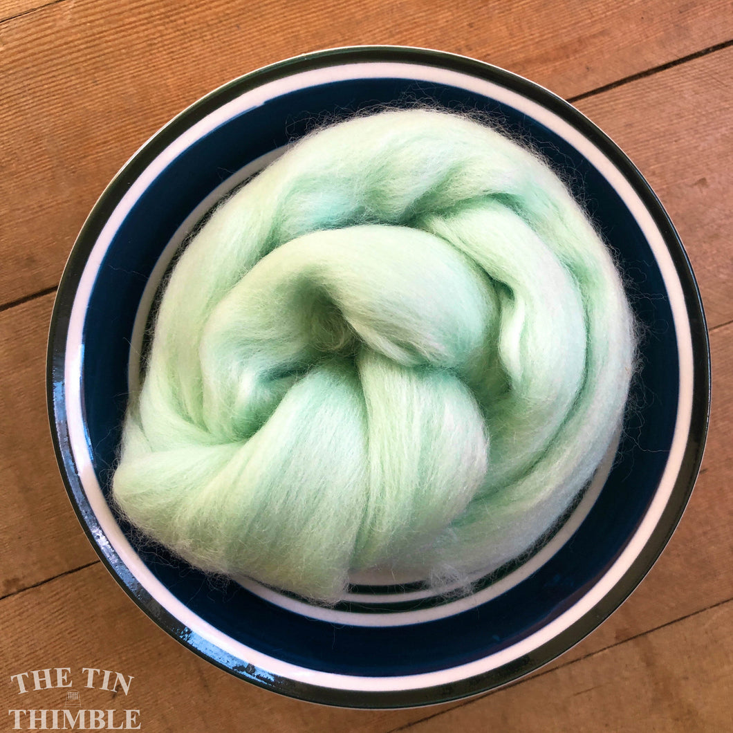 Mint Merino Wool Roving - 1 oz - Nuno Felting / Wet Felting / Felting Supplies / Hand Felting / Needle Felting / Fiber Supply / Fiber Art