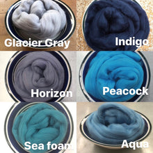Load image into Gallery viewer, Aqua Merino Wool Roving - 1 oz - Nuno Felting / Wet Felting / Felting Supplies / Hand Felting / Needle Felting / Spinning
