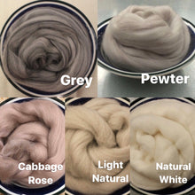 Load image into Gallery viewer, Pewter Gray Merino Wool Roving / 21.5 micron -1 oz- Nuno Felting / Wet Felting / Felting Supplies / Needle Felting / Fiber Supply