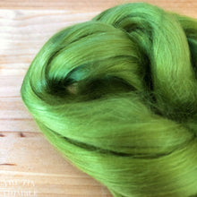 Load image into Gallery viewer, Cultivated Bombyx (Mulberry) Silk Fiber for Spinning or Felting in Leaf Green - 3.5 Grams or More