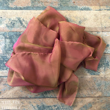 "Load image into Gallery viewer, Pure Silk Chiffon Scarf with Unfinished Edges / Great for Nuno Felting / Approx. 14"" x 90"" / Olive & Rust"