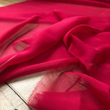 "Load image into Gallery viewer, Silk Chiffon Fabric by the Yard Great for Nuno Felting - 45"" Wide in Matte Red - Roughly 6 Momme Count"