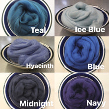 Load image into Gallery viewer, Midnight Dark Blue Merino Wool Roving - 21.5 micron -1 oz - For Nuno Felting, Wet Felting, Weaving, Spinning and More