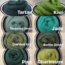Load image into Gallery viewer, Jade Green Merino Wool Roving for Nuno Felting, Wet Felting and Weaving - 21.5 micron - 1 oz