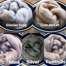Load image into Gallery viewer, Grey Merino Wool Roving - 21.5 micron -1 oz - For Nuno Felting, Wet Felting, Weaving, Spinning and More