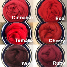 Load image into Gallery viewer, Cherry Merino Wool Roving - 21.5 micron -1 oz - For Nuno Felting, Wet Felting, Weaving, Spinning and More