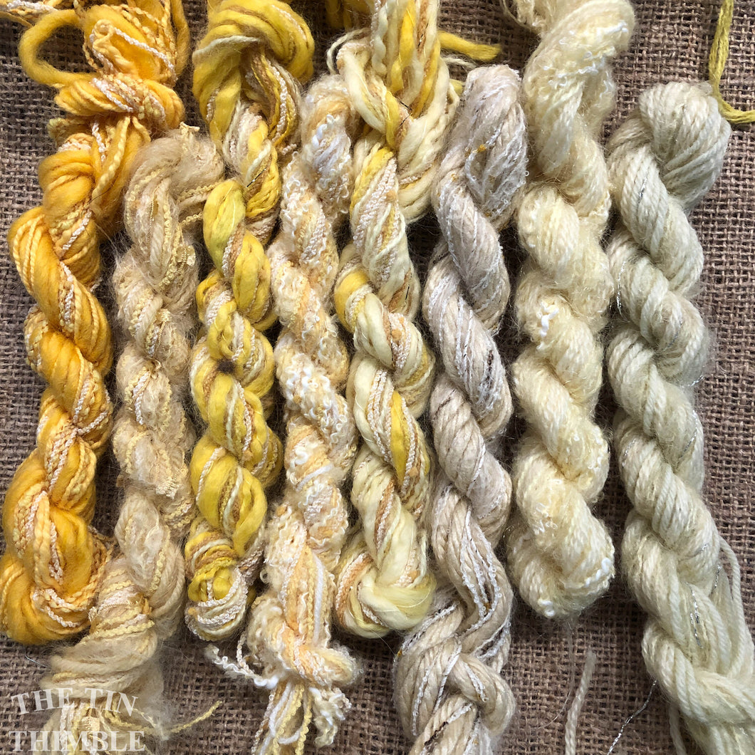 Fiber Frenzy Bundle / Mixed Bundle of Yarn in Yellow / Great for Felting / Approximately 24 Yards / 8 Strands Each 3 Yards Long
