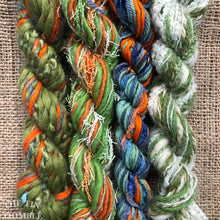 Load image into Gallery viewer, Fiber Frenzy Bundle / Mixed Bundle of Yarn in Green and Orange / Great for Felting / Approximately 24 Yards / 8 Strands Each 3 Yards Long