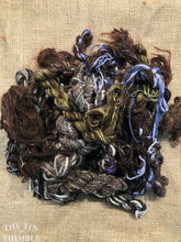 Load image into Gallery viewer, Fiber Frenzy Bundle / Mixed Bundle of Yarn in Dark Brown / Great for Felting / Approximately 24 Yards / 8 Strands Each 3 Yards Long
