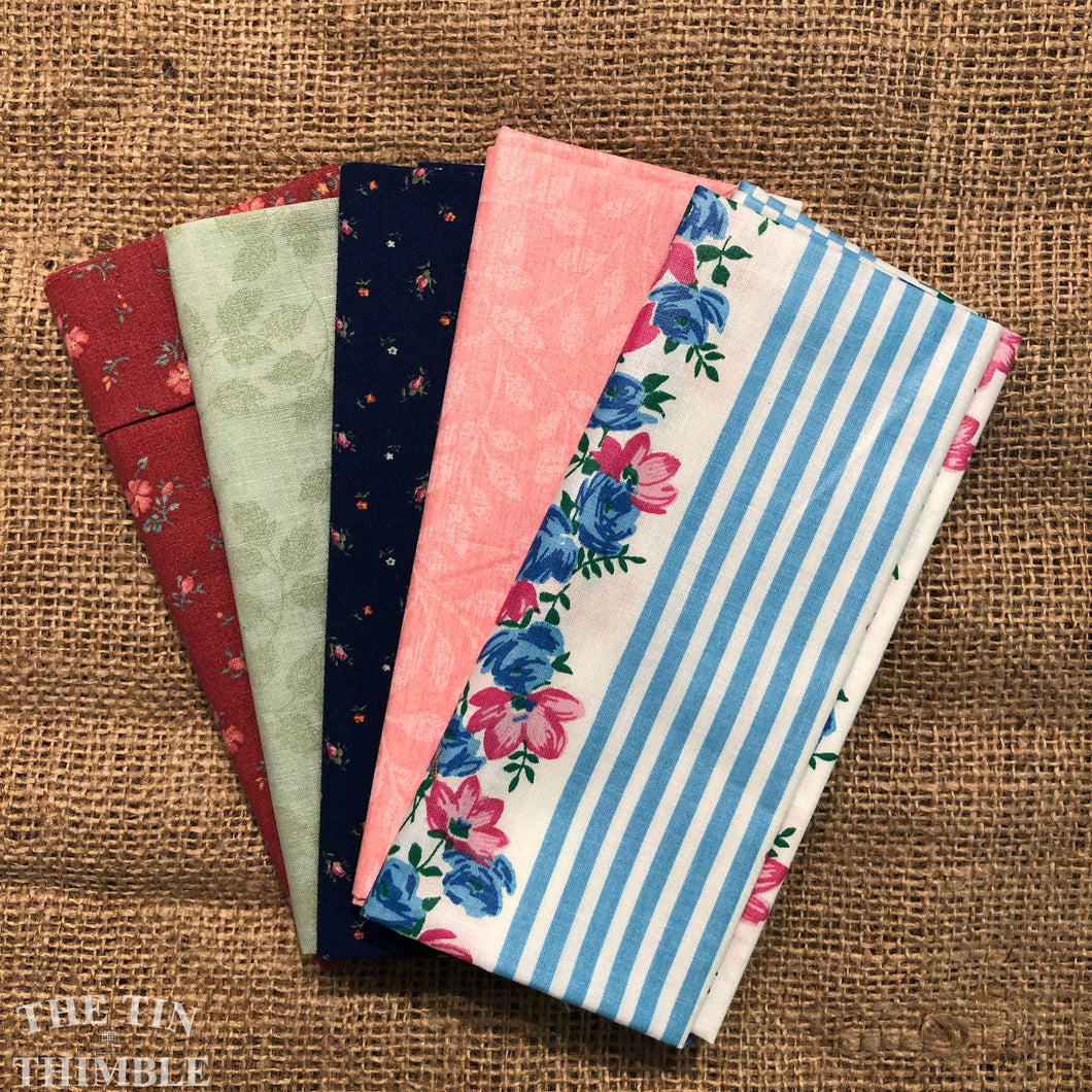 Fat Quarter Bundle / Pink & Blue Fabric / Fat Quarters / Quilting Fabric / Fat 1/4 / Great for Making Masks! / 100% Cotton