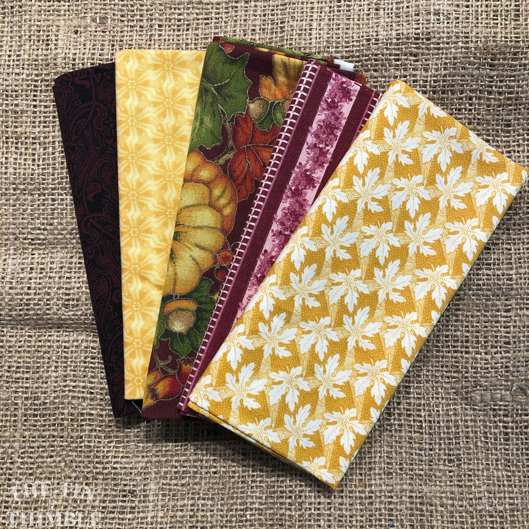 Fat Quarter Bundle / Maroon & Yellow Fabric / Fat Quarters / Quilting Fabric / Fat 1/4 / Great for Making Masks! / 100% Cotton