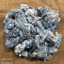 Load image into Gallery viewer, Fiber Frenzy Bundle / Mixed Bundle of Yarn in Blue & White / Great for Felting / Approximately 24 Yards / 8 Strands Each 3 Yards Long