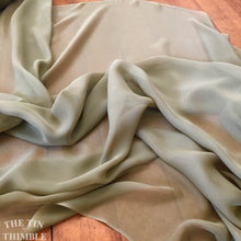 "Load image into Gallery viewer, Silk Chiffon Fabric by the Yard / Great for Nuno Felting / 45"" Wide / Matte Sage Green / Roughly 6 Momme Count"