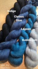 Load image into Gallery viewer, Indigo Blue CORRIEDALE Wool Roving - 1 oz - Nuno Felting / Wet Felting / Felting Supplies / Hand Felting / Needle Felting / Fiber Art