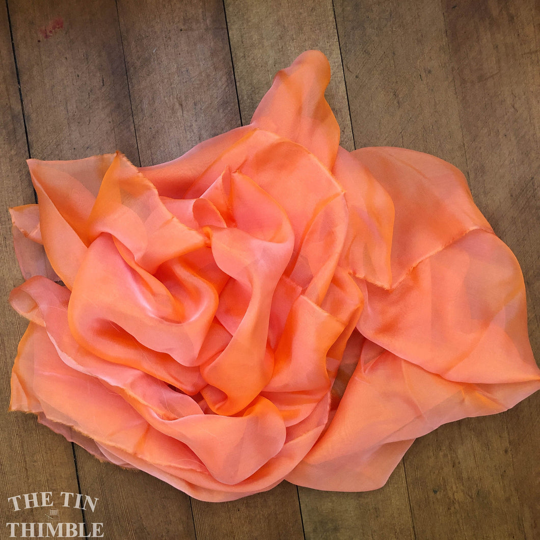 Pure Silk Chiffon Scarf with Unfinished Edges / Great for Nuno Felting / Approx. 14