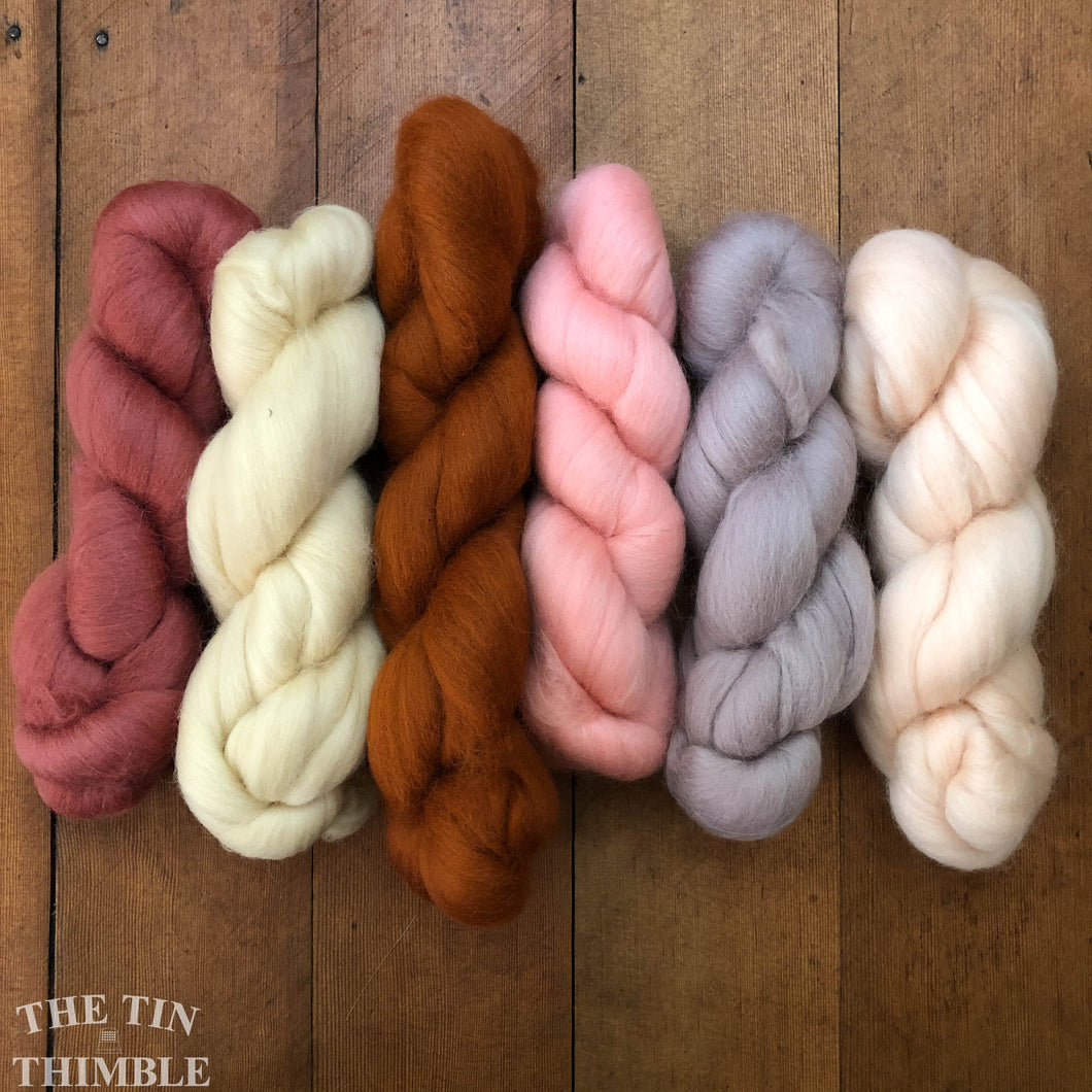 Merino Wool Roving Pack - Antique Rose - Six Colors, 1 Ounce Each - High Quality Merino Wool for Felting, Weaving and Spinning
