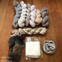 Load image into Gallery viewer, Nuno Felted Scarf Supply Kit - Soft Neutrals - Merino Wool Roving, Silk Chiffon Scarf, Embellishments