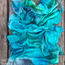 Load image into Gallery viewer, Hand Dyed Silk Mulberry Lap Fiber for Spinning or Felting in 'Ocean' / Blue & Green 100% Silk Laps Similar to Silk Hankies