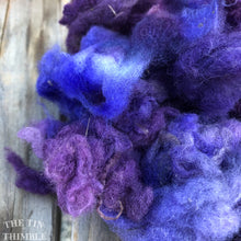 Load image into Gallery viewer, Hand Dyed Mystery Wool Fiber - 1 Ounce - Needle Felting, Wet Felting, Weaving and Crafts - Purple