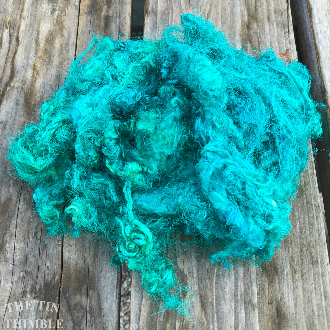 Hand Dyed Throwsters Waste Silk / 1/8 Ounce of 100% Silk Threads in the color 'Ocean'