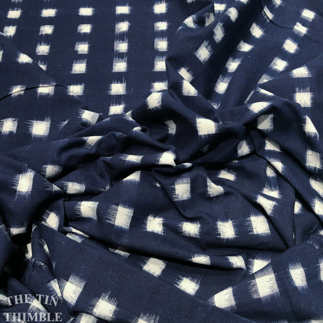 Ikat Fabric in Navy and White - Dakota Ikat Made in India - 100% Cotton Yarn Dyed Fabric