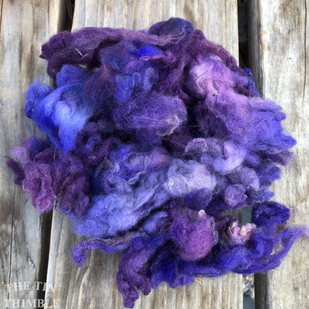 Hand Dyed Mystery Wool Fiber - 1 Ounce - Needle Felting, Wet Felting, Weaving and Crafts - Purple
