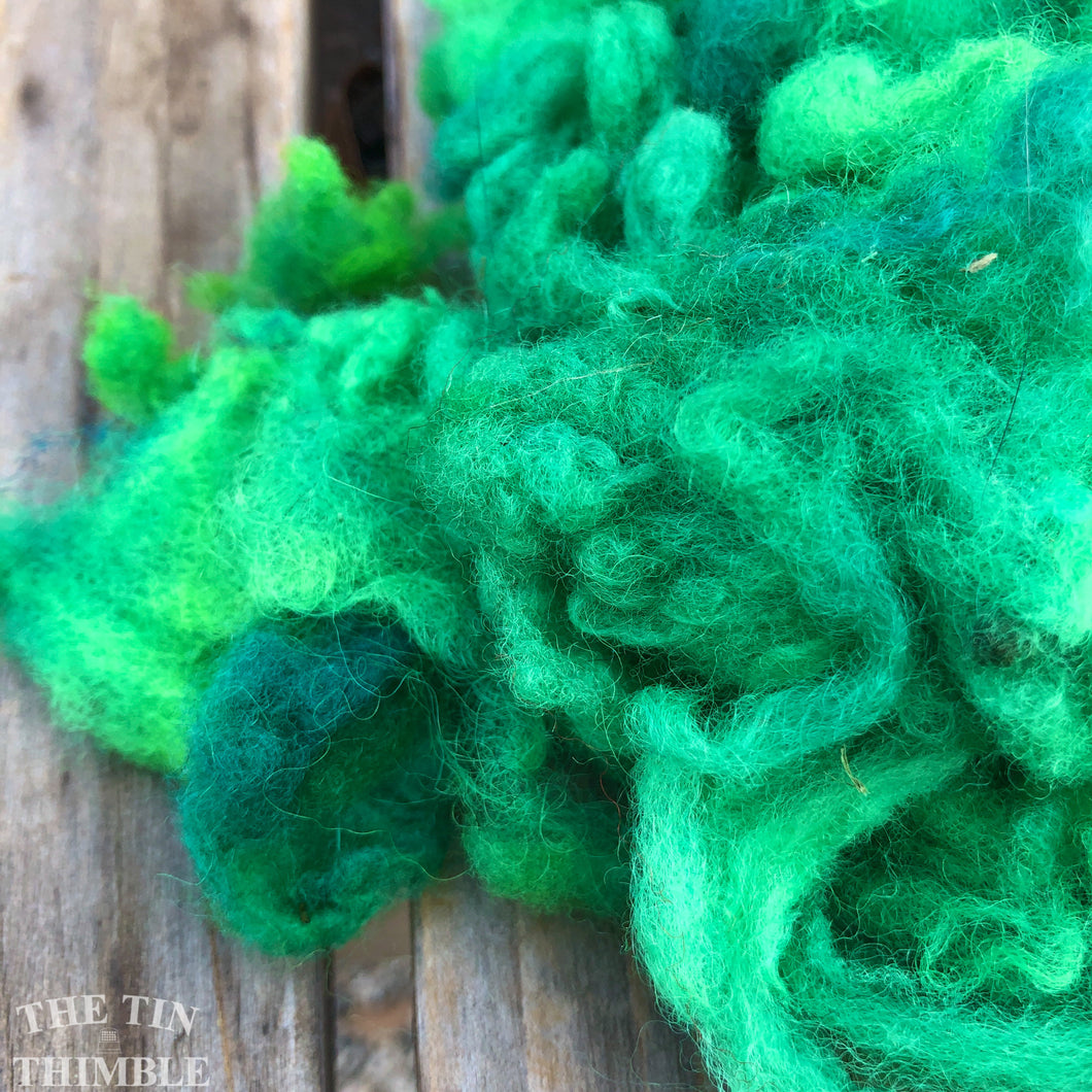 Hand Dyed Mystery Wool Fiber for Needle Felting, Wet Felting, Weaving and Crafts - Bright Green - 1 Ounce