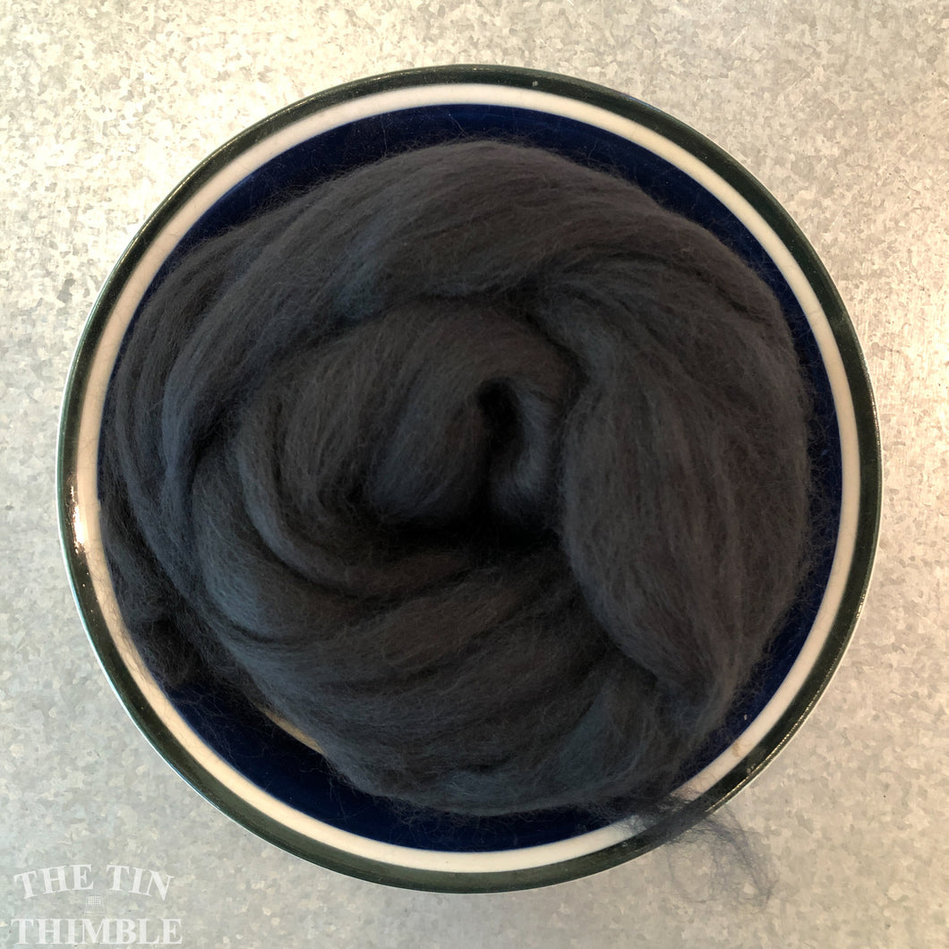 Graphite Dark Gray Merino Wool Roving - 21.5 micron -1 oz - For Nuno Felting, Wet Felting, Weaving, Spinning and More