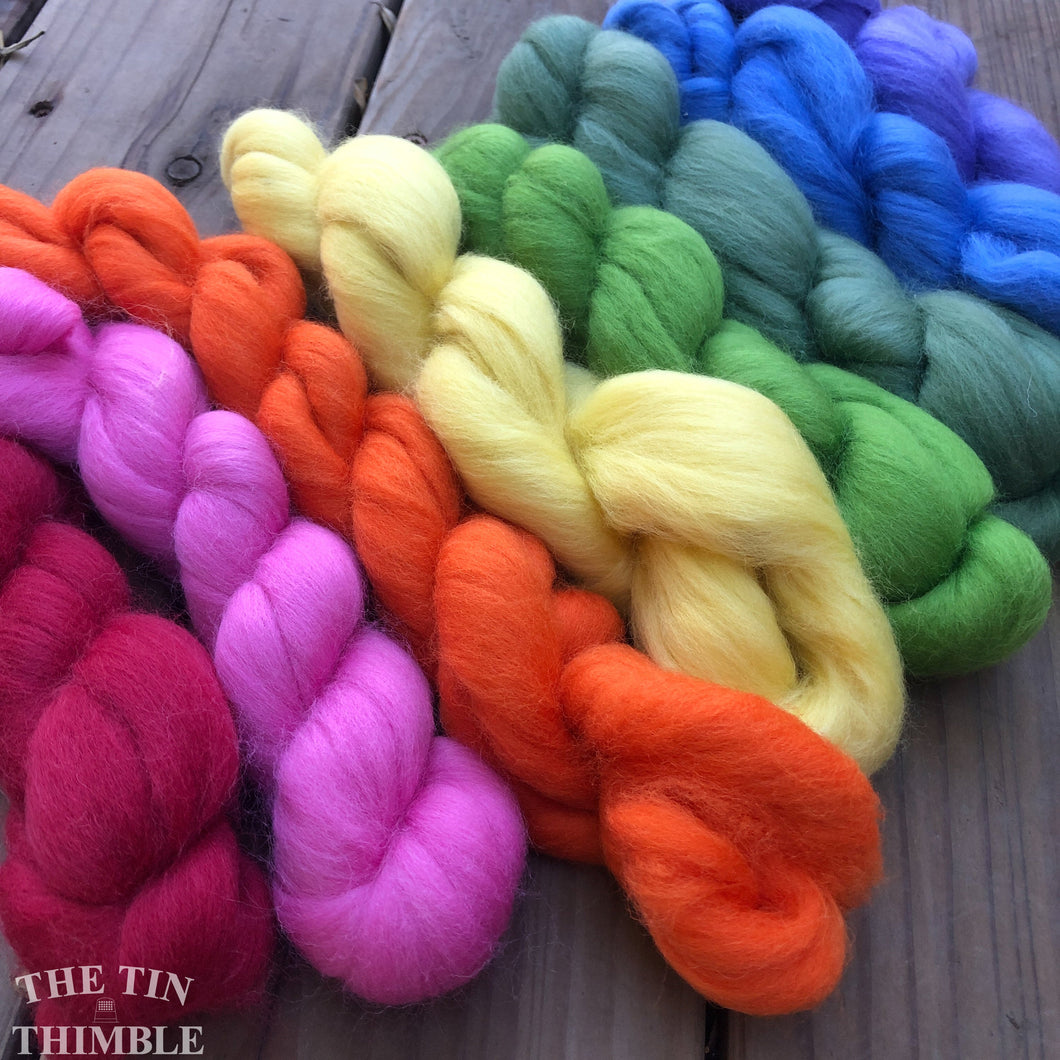 Merino Wool Roving Pack - Bouquet - Eight Colors, 1 Ounce Each - High Quality Merino Wool for Felting, Weaving and Spinning