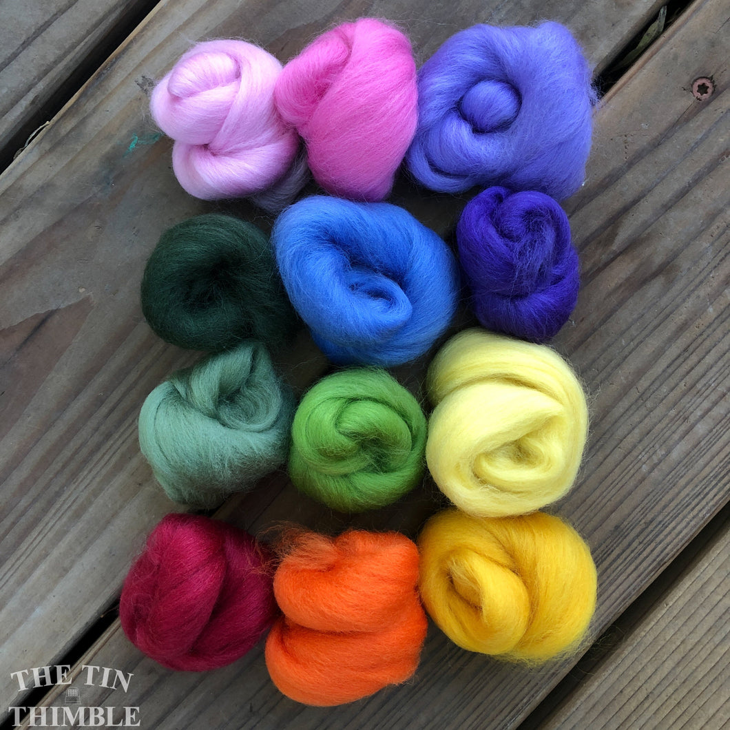 Mixed Wool Roving Pack - 1.5 oz Total - Bouquet - Small Quantities for Felting and Crafts