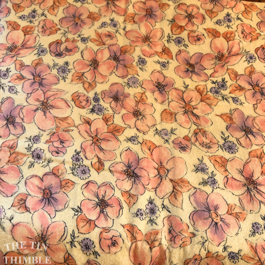 Vintage Floral Printed Flannel - 100% Cotton - Sold by the Yard