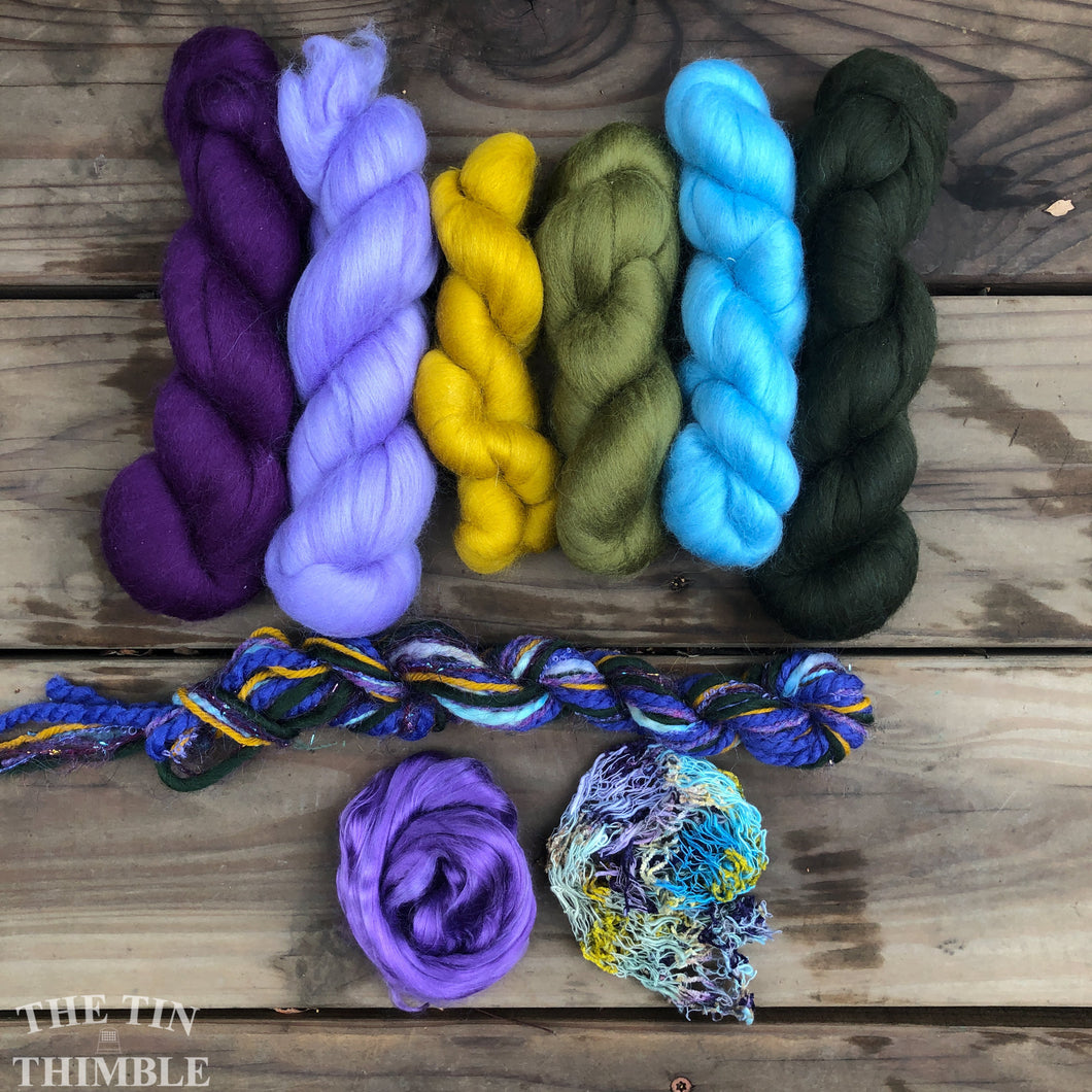 Merino Wool Roving Pack WITH EMBELLISHMENTS - Pansy Purple - Six Colors, 1 Ounce Each - High Quality Wool for Felting, Weaving and Spinning