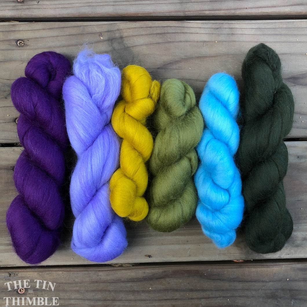 Merino Wool Roving Pack - Pansy Purple & Green - Six Colors, 1 Ounce Each - High Quality Merino Wool for Felting, Weaving and Spinning