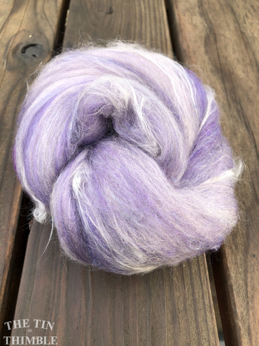 Hand Carded Batt for Felting or Spinning - Blend of Merino, Silk & Other Fibers - Hand Dyed and Commercially Dyed Fibers