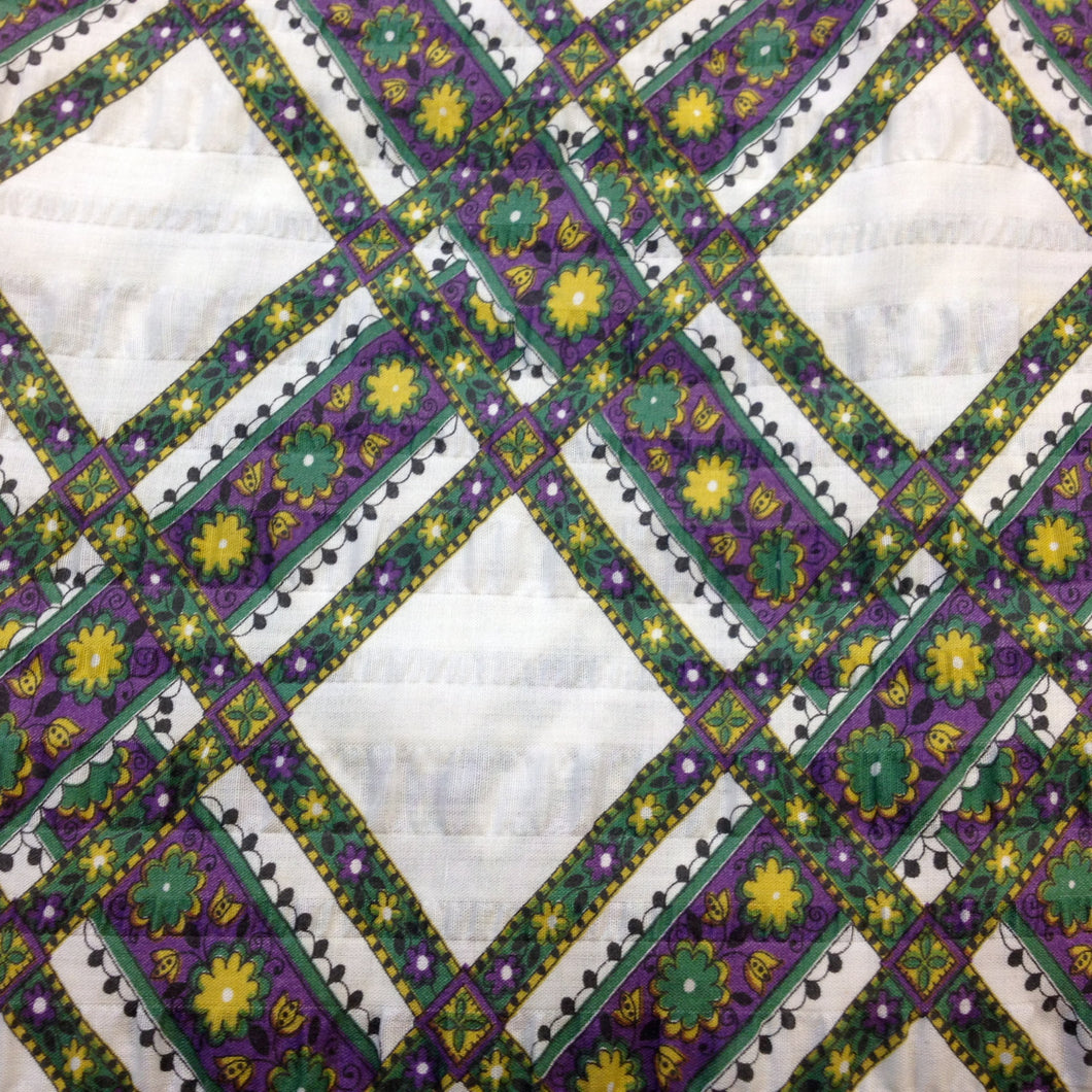 Vintage Fabric / 1970's Fabric / Vintage Plisse -1 Yard- Green Purple Fabric / Diamond Print Fabric / Cotton/Poly Blend / Floral Fabric