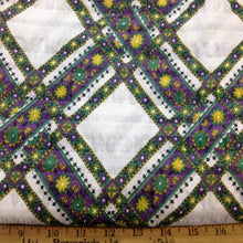 Load image into Gallery viewer, Vintage Fabric / 1970's Fabric / Vintage Plisse -1 Yard- Green Purple Fabric / Diamond Print Fabric / Cotton/Poly Blend / Floral Fabric
