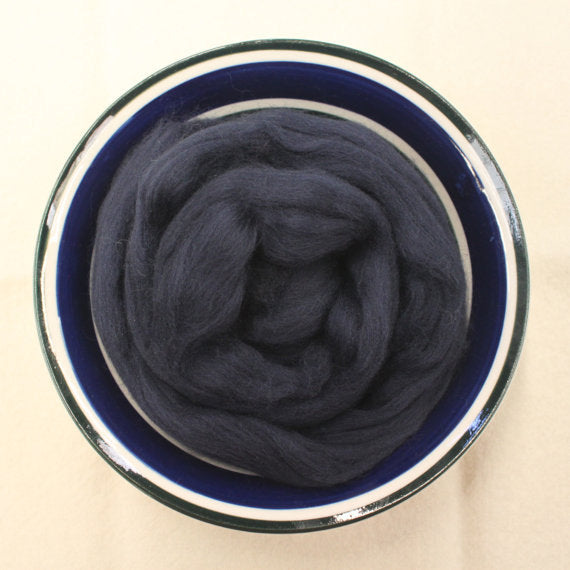 Midnight Dark Blue Merino Wool Roving - 21.5 micron -1 oz - For Nuno Felting, Wet Felting, Weaving, Spinning and More