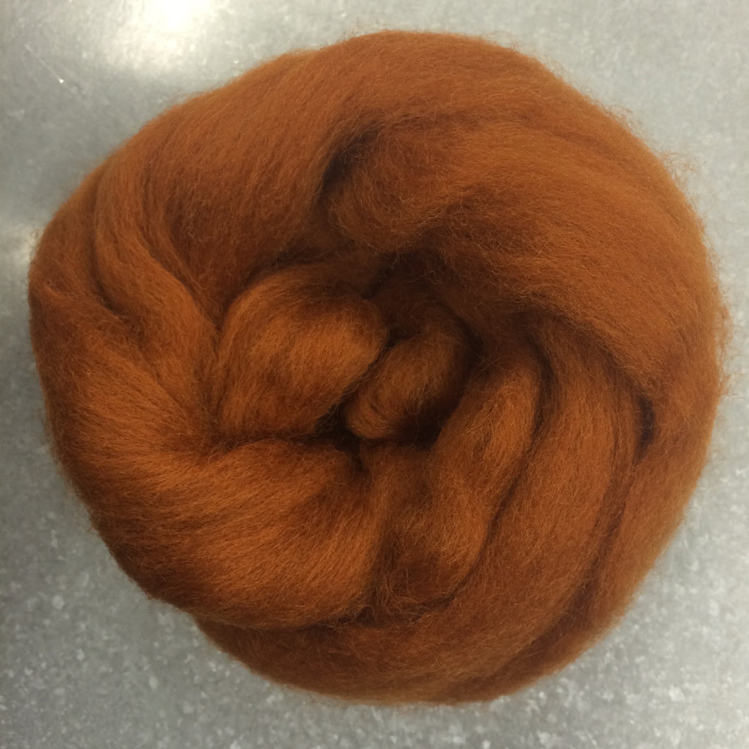 Toffee CORRIEDALE Wool Roving for Felting, Spinning or Weaving - 1 oz - Dyed Wool For Fiber Art
