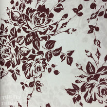 Load image into Gallery viewer, Jersey Knit Fabric / Floral Knit / White & Burgundy - 1 Yard -Cotton Fabric / Knit by Yard / Tshirt Fabric / Cotton Knit / Printed Knit